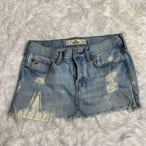 Hollister Light Wash Button Fly Denim Skirt Size 1